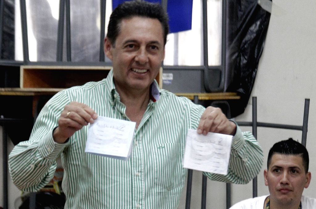 SAN JOSE, Feb. 5, 2018 - Costa Rica's President candidate Antonio Alvarez of the National Liberation Party shows his ballot during the Presidential elections in San Jose, Costa Rica, on Feb. 4, 2018. ...