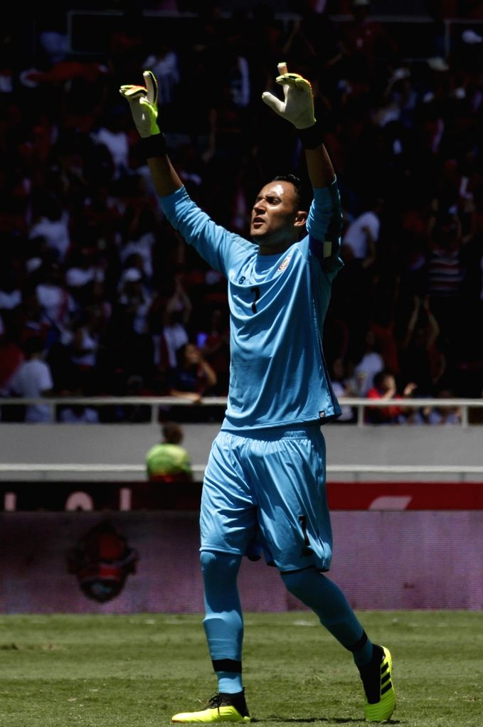 SAN JOSE, June 4, 2018 - Keylor Navas, goalkeeper of Costa Rica celebrates during an international friendly match against Northern Ireland prior to the FIFA World Cup Russia 2018 in San Jose, Costa ...