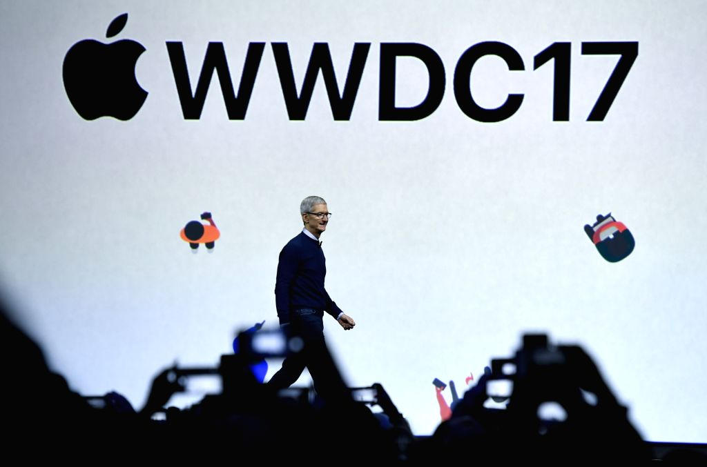 SAN JOSE, June 6, 2017 - Apple's Chief Executive Officer (CEO) Tim Cook announces new products at the Worldwide Developers Conference (WWDC) in San Jose, California, the United States, on June 5, ...