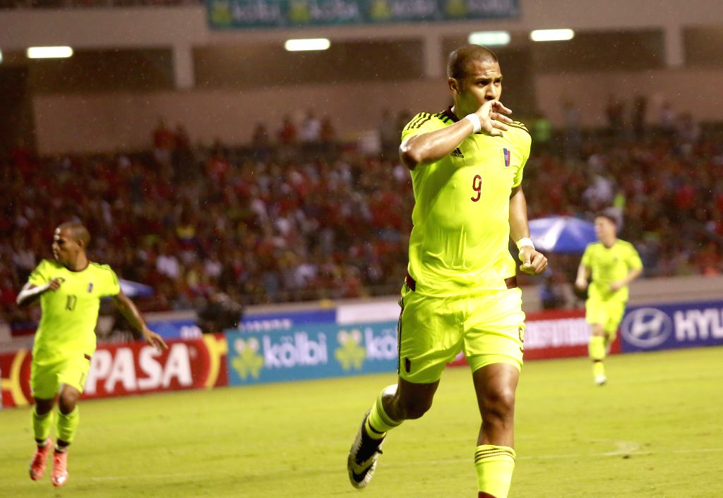 SAN JOSE, May 28, 2016 - Venezuela's Salomon Rondon celebrates after scoring during the international friendly match against Costa Rica in the National Stadium, in the city of San Jose, Costa Rica, ...
