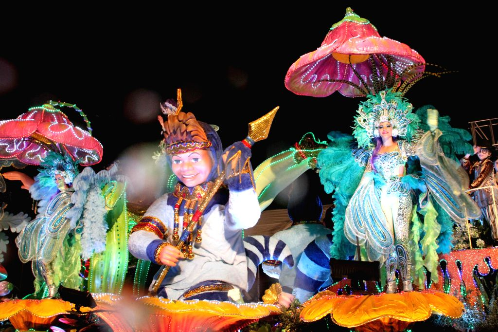 """San Jose:  Residents of Costa Rica attend the traditional """"Light Festival"""" 2014, in San Jose, capital of Costa Rica, on Dec. 13, 2014."""