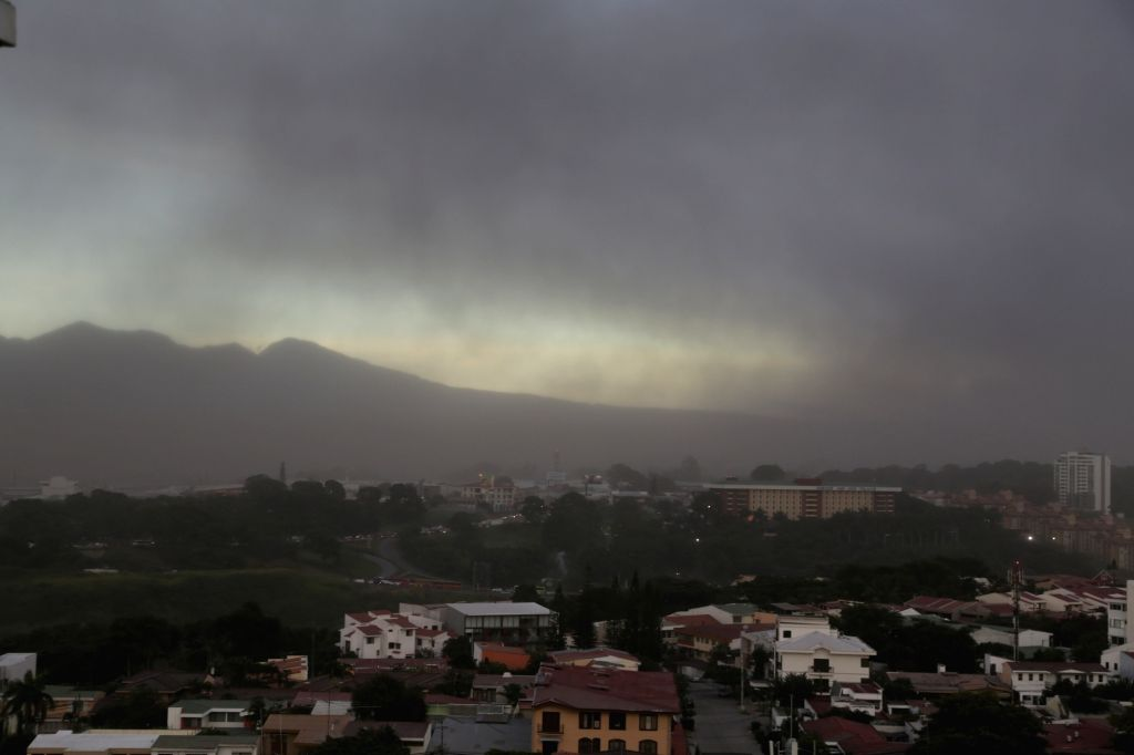 SAN JOSE, Sept. 20, 2016 - The city of San Jose is shrouded with volcanic ash as the Turrialba volcano erupts, in Costa Rica, Sept. 19, 2016. Turrialba has been undergoing a period of intermittent ...