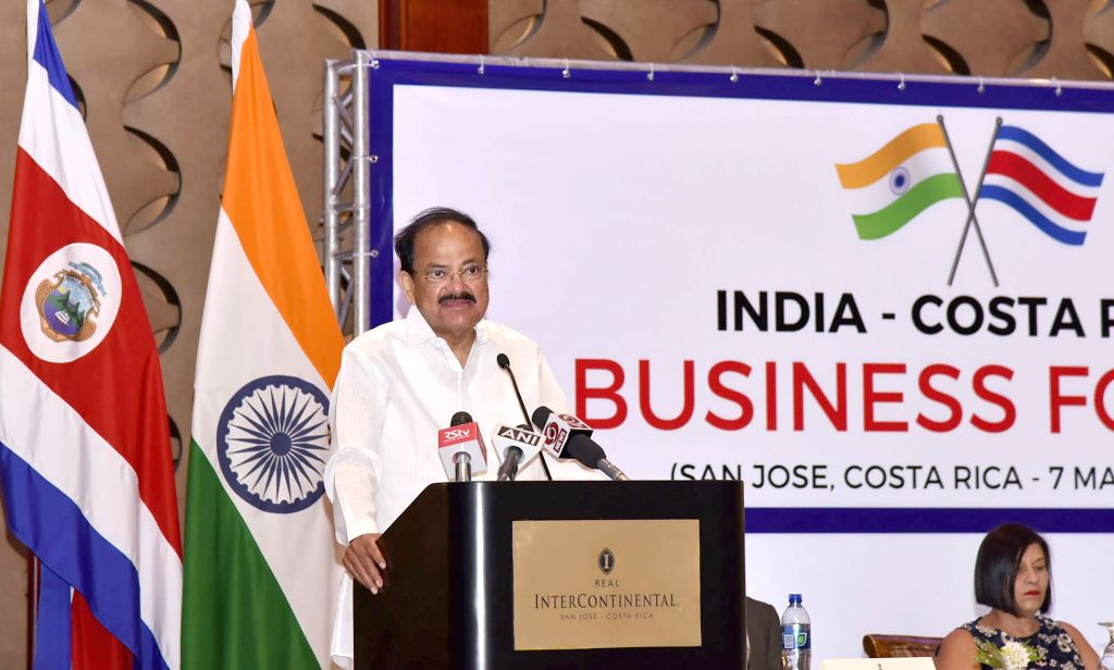 San Jose: Vice President M Venkaiah Naidu addresses the India - Costa Rica Business Forum, in San Jose, Costa Rica on March 7, 2019. - M Venkaiah Naidu
