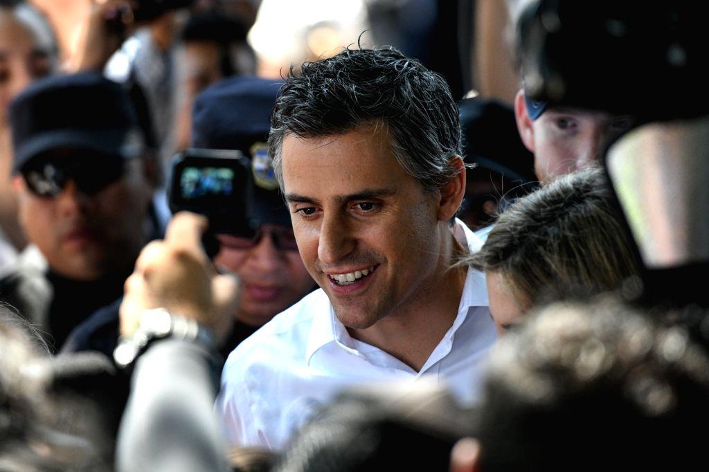 SAN SALVADOR, Feb. 3, 2019 - Presidential candidate Carlos Calleja of the Nationalist Republican Alliance (ARENA) is seen at a polling station, in San Salvador, El Salvador, Feb. 3, 2019. The ...