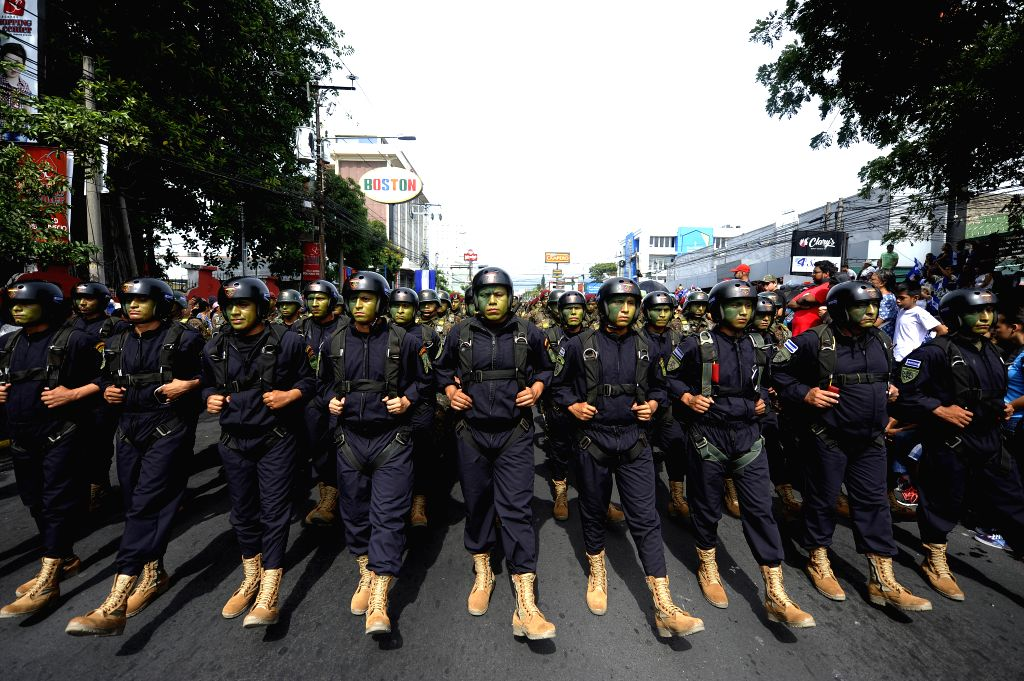 SAN SALVADOR, Sept. 16, 2019 - Soldiers take part in a celebration for the Independence Day of El Salvador in San Salvador, El Salvador, Sept. 15, 2019.