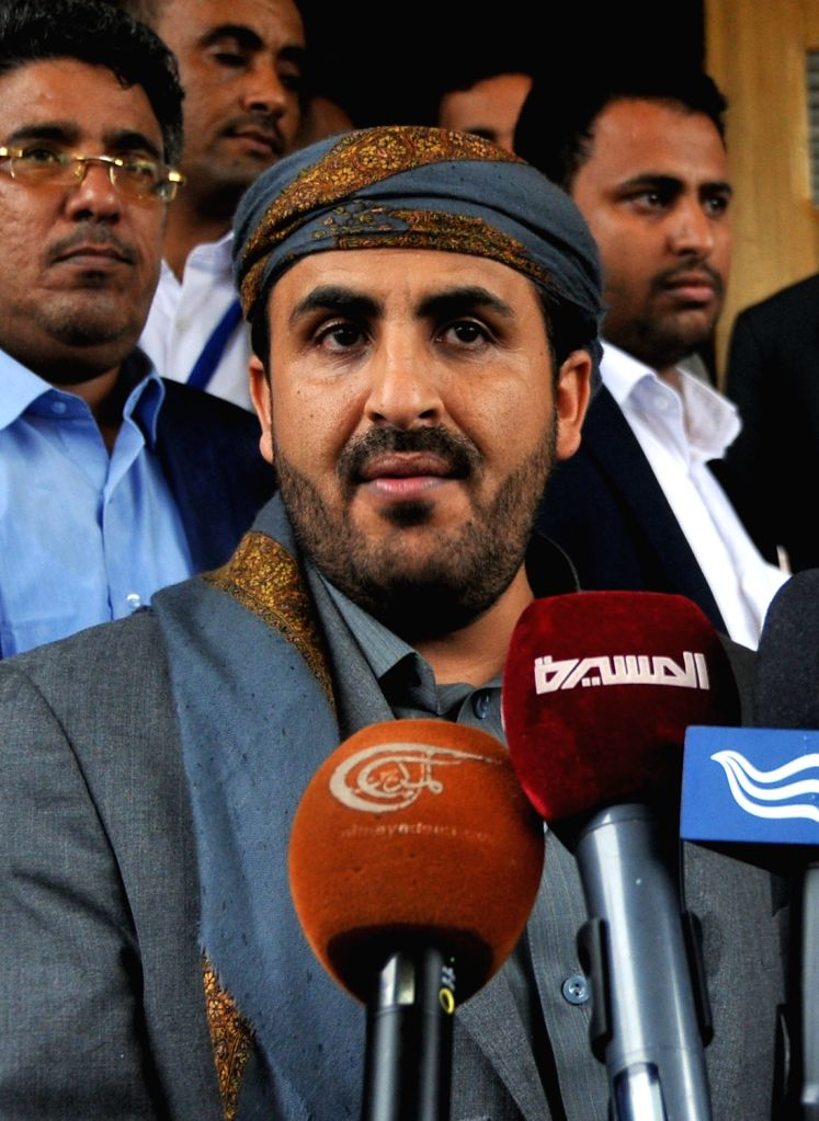SANAA, April 20, 2016 - Houthi spokesman Mohammed Abdulsalam speaks during a press conference at the Sanaa International Airport in Yemen, on April 20, 2016. Yemen's rebel Shiite Houthi group and its ...