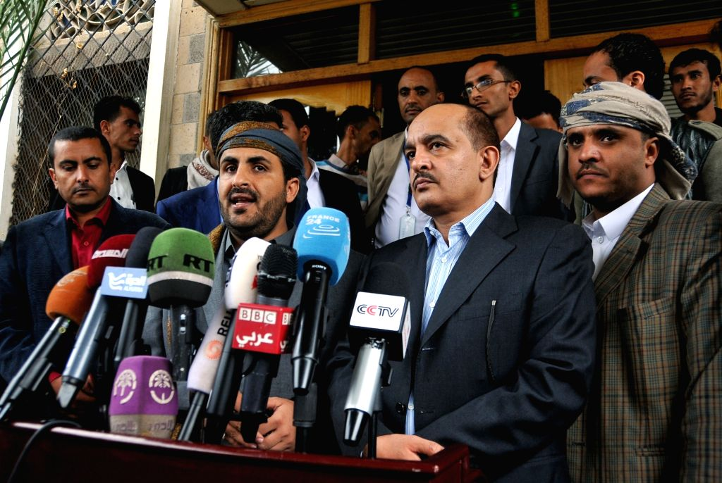 SANAA, April 20, 2016 - Houthi spokesman Mohammed Abdulsalam (L, front) speaks during a press conference at the Sanaa International Airport in Yemen, on April 20, 2016. Yemen's rebel Shiite Houthi ...