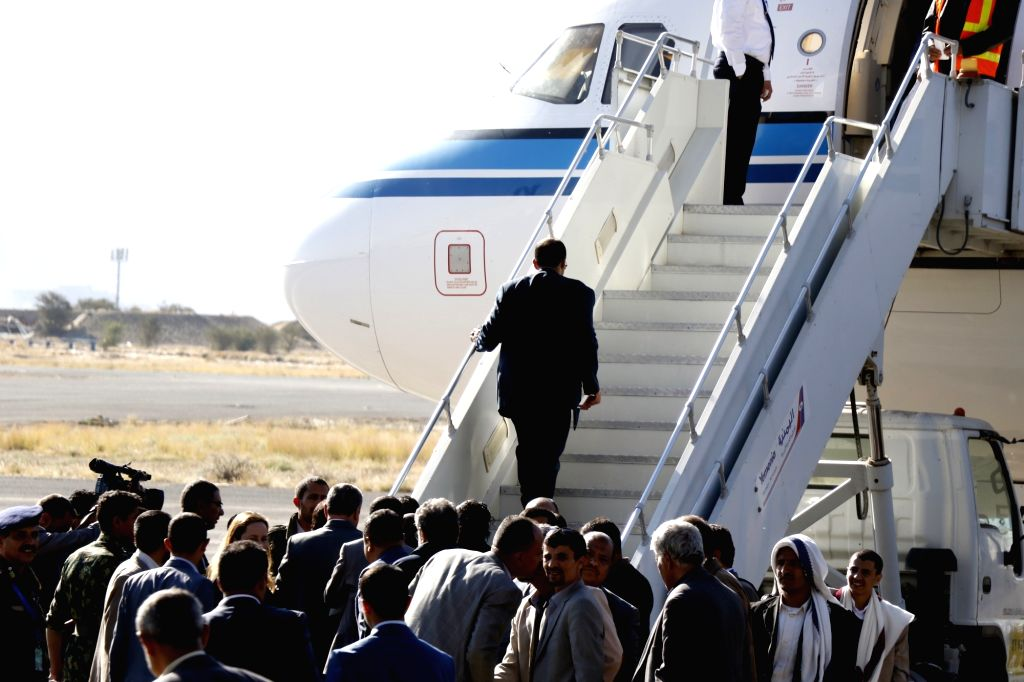 SANAA, Dec. 5, 2018 - A Houthi rebel negotiator boards a plane at the Sanaa International Airport in Sanaa, Yemen, Dec. 4, 2018 to depart for upcoming peace talks in Stockholm, Sweden. Yemen's Houthi ...
