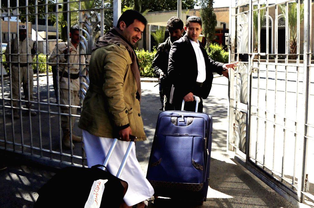 SANAA, Dec. 5, 2018 - Houthi rebel negotiators prepare to depart from the Sanaa International Airport in Sanaa, Yemen, Dec. 4, 2018 to attend upcoming peace talks in Stockholm, Sweden. Yemen's Houthi ...
