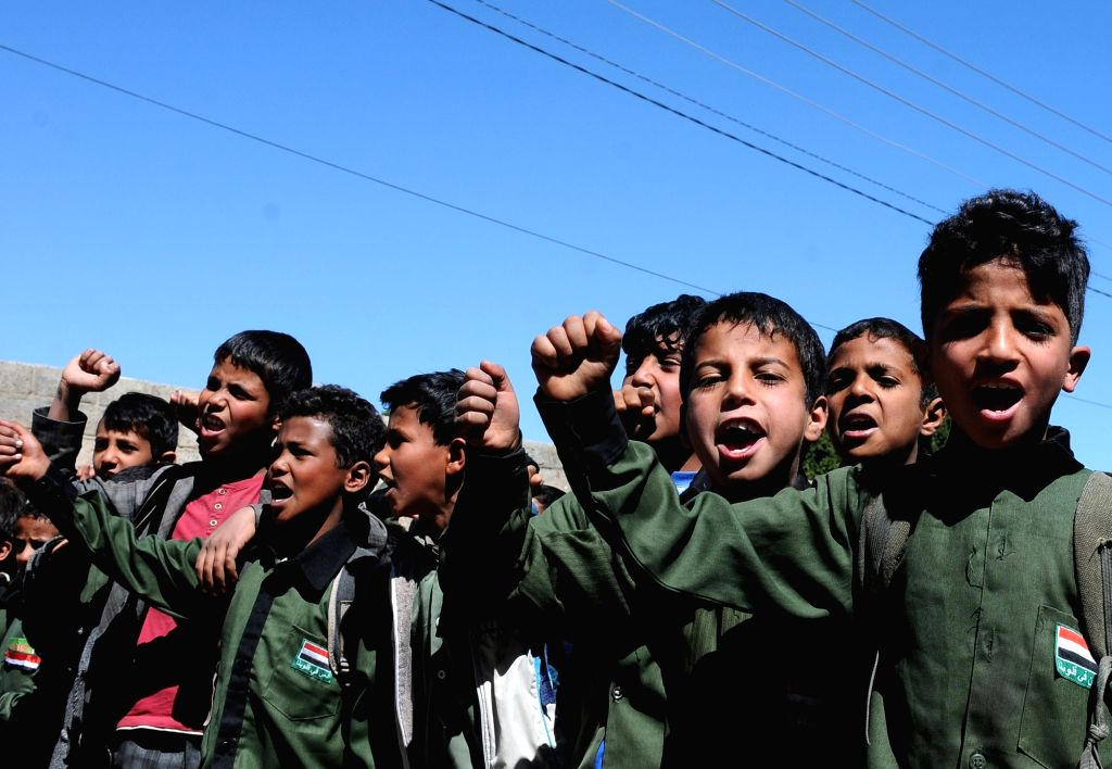 SANAA, Feb. 13, 2018 - Students of Yemeni primary and secondary schools shout slogans during a rally demanding the United Nations take measures on warring sides to pay teachers' salaries and resume ...