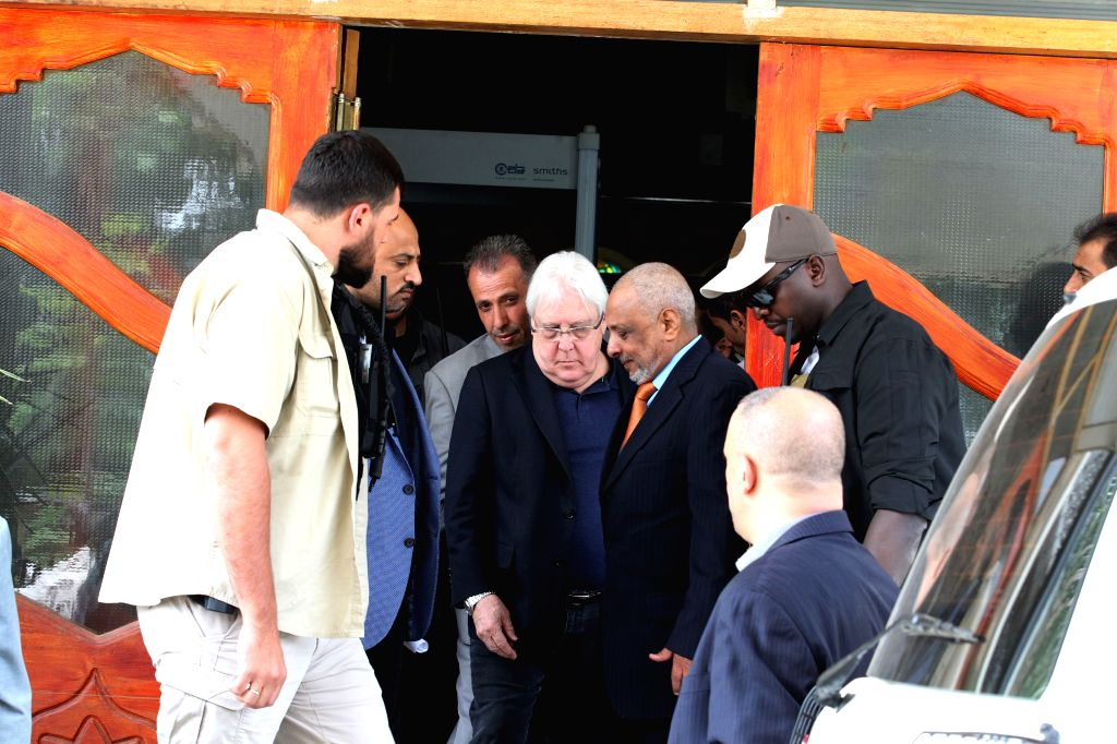 SANAA, July 16, 2019 - UN Special Envoy to Yemen Martin Griffiths (C) arrives at Sanaa International Airport in Sanaa, Yemen, on July 16, 2019. Martin Griffiths arrived in Yemeni capital Sanaa on ...