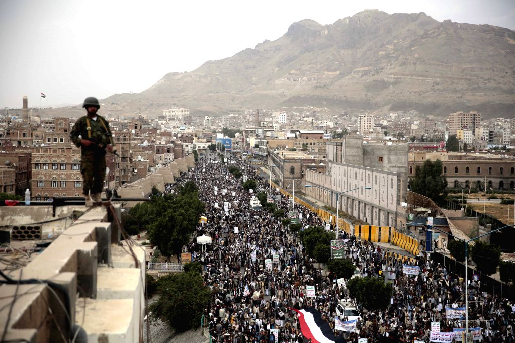 SANAA, July 19, 2016 - A soldier stands guard during a rally in support of the Houthi movement in Sanaa, Yemen, July 18, 2016.