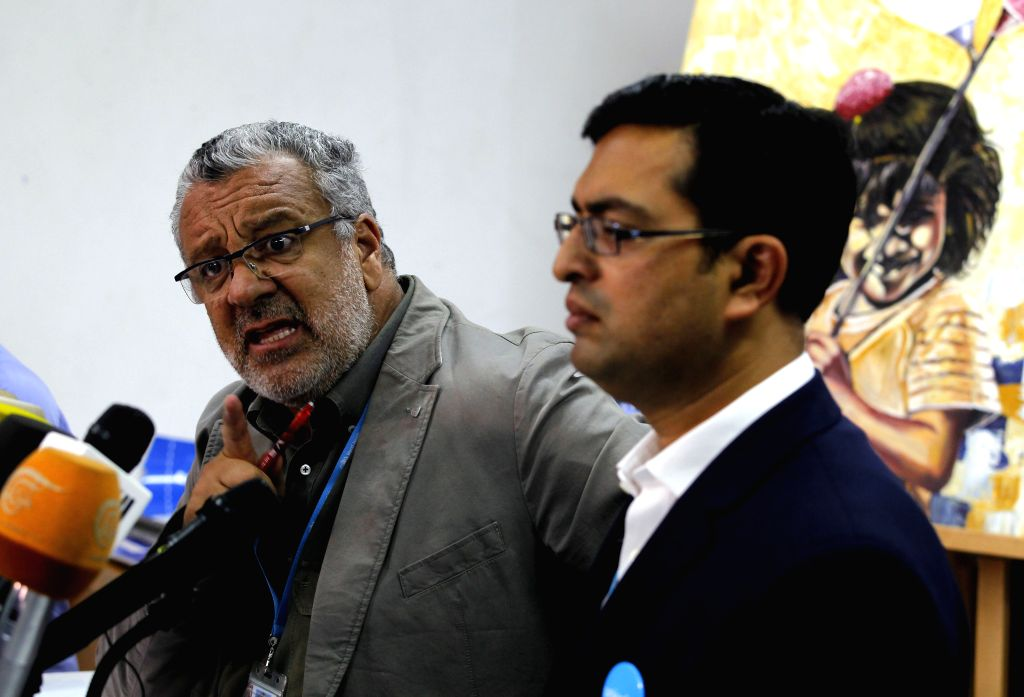 SANAA, July 2, 2017 - Nevio Zagaria (L), chief of the World Health Organization (WHO), speaks during a press conference about the cholera outbreak, in Sanaa, Yemen, on July 1, 2017. WHO said on ...