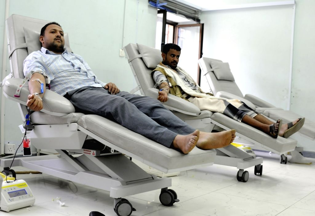 SANAA, July 4, 2017 - Yemenis donate blood for victims of the ongoing conflict after the public hospitals asked citizens to donate blood in order to face challenge of blood shortage at a blood bank ...