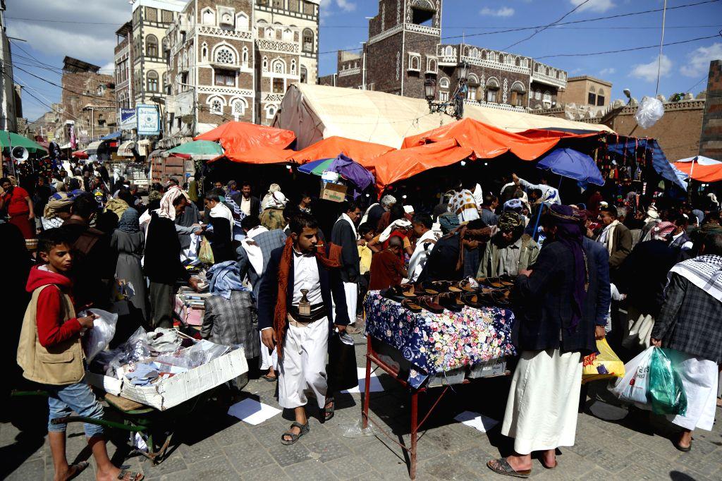 SANAA, June 1, 2019 - Yemenis shop ahead of the Eid al-Fitr at a market in Sanaa, Yemen, June 1, 2019.