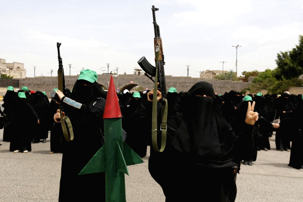 SANAA, June 26, 2016 - Yemeni women participate in a rally supporting the Houthi delegation to take part in the UN-backed peace talks in Kuwait, in Sanaa, Yemen, June 25, 2016. UN Secretary-General ...