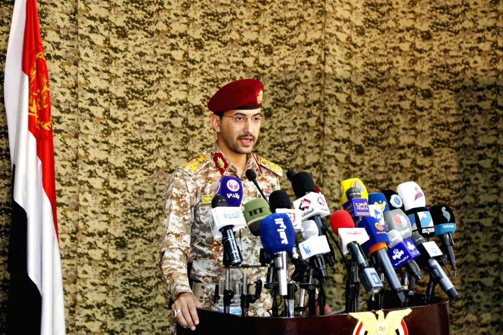 SANAA, March 2, 2019 - Spokesperson of the Houthi rebels Yahya Sarie speaks during a press conference in Sanaa, Yemen, on March 2, 2019. Yemen's warring parties clashed on Saturday in the country's ...