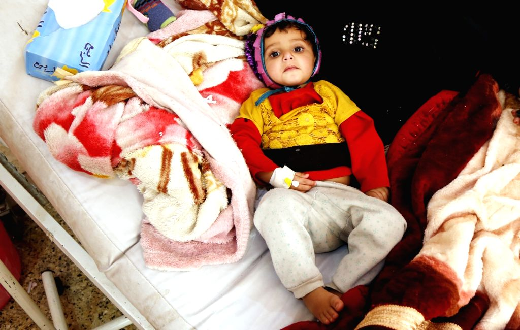 SANAA, March 9, 2019 - A cholera-infected child lies in a bed at al-Sabeen hospital in Sanaa, Yemen, on March 9, 2019. According to the latest data released on World Health Organization website, the ...