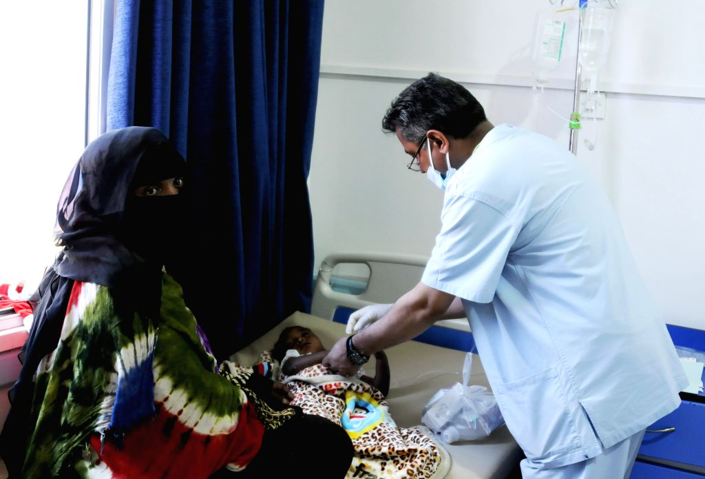 SANAA, May 29, 2017 - A doctor examines a child who is infected by the cholera at the al-Sabeen hospital, in Sanaa, Yemen, May 28, 2017. According to the Office for the Coordination of Humanitarian ...