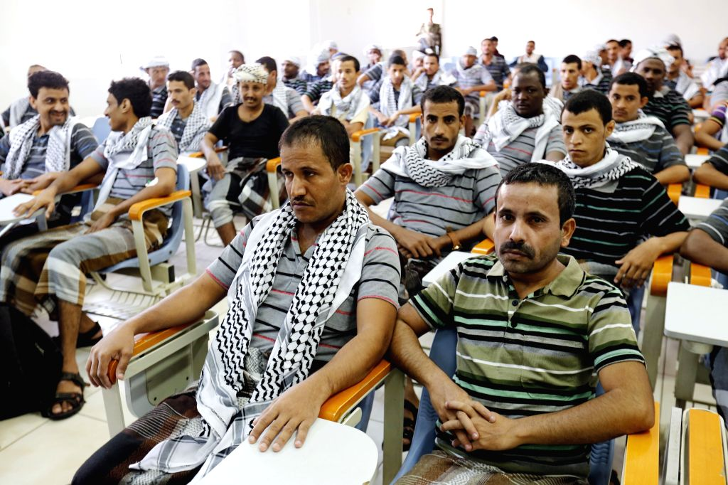 SANAA, May 29, 2019 - Houthi fighters attend a meeting after they were released in Sanaa, Yemen, on May 29, 2019. Yemeni Houthi rebels announced on May 26 a prisoner swap with forces of the ...