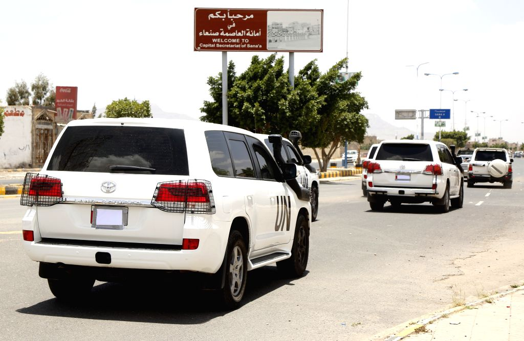SANAA, May 5, 2019 - Convoy of the UN special envoy to Yemen Martin Griffiths leaves the Sanaa International Airport after the envoy arrives in Sanaa, Yemen, May 5, 2019. The UN Special Envoy to ...