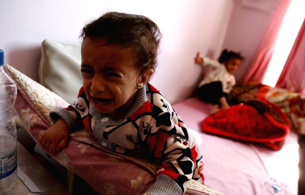 SANAA, Nov. 13, 2019 - Yemeni children infected with malaria are seen at a hospital in Sanaa, Yemen, on Nov. 13, 2019. Yemen's health authorities declared a health emergency on Tuesday, citing that ...
