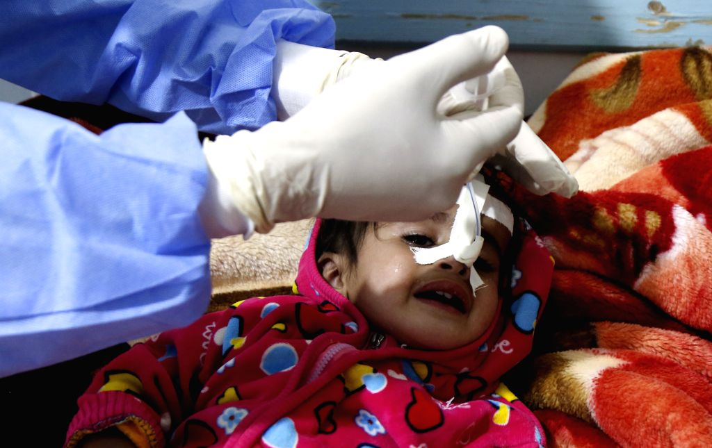 SANAA, Oct. 12, 2019 - A cholera-infected child receives medical treatment at a health center in Sanaa, Yemen, on Oct. 12, 2019.