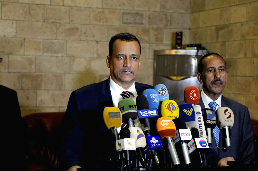 SANAA, Oct. 23, 2016 - UN Special Envoy for Yemen Ismail Ould Cheikh Ahmed speaks as he arrives in Sanaa to seek an extension of the truce at the Sanaa Airport in Sanaa, Yemen, on Oct. 23, 2016.