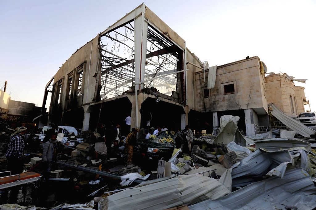 SANAA, Oct. 8, 2016 - People inspect a funeral hall after it was targeted by airstrikes in Sanaa, Yemen, on Oct. 8, 2016. The Saudi-led coalition airstrikes on a funeral hall in Yemen's capital Sanaa ... - Ghazi Ismail