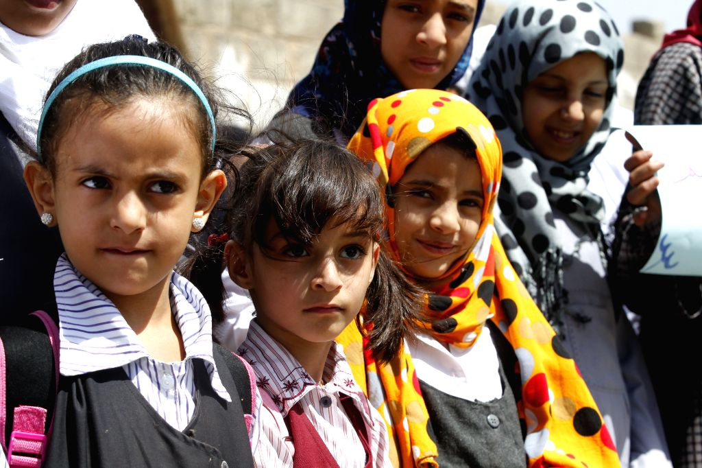 SANAA, Sept. 17, 2017 - Children take part in a protest against targeting civilians and demanding the end of conflicts in order to continue their education outside a UN office in Sanaa, Yemen, on ...