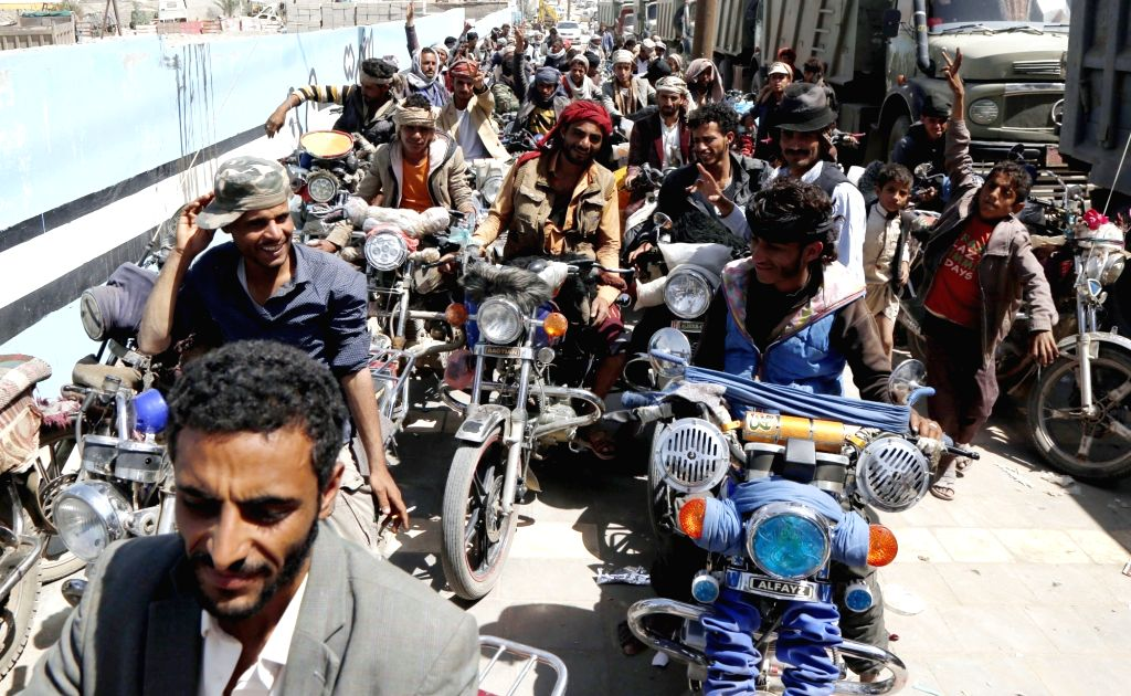 SANAA, Sept. 17, 2018 - Bikers wait to refill their motorcycles at a petrol station in Sanaa, Yemen, on Sept. 17, 2018. Sanaa streets appeared Sunday almost empty of movement due to unprecedented ...