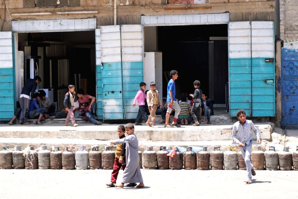 SANAA, Sept. 18, 2018 - Empty cooking gas cylinders are seen in Sanaa, Yemen, on Sept. 18, 2018. Streets are almost empty in Yemen's capital Sanaa as a week-long severe fuel shortage forces hundreds ...