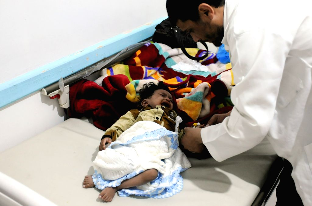 SANAA, Sept. 20, 2017 - A child receives medical treatment at a separated cholera center in Sanaa, Yemen, on Sept. 19, 2017. The country has been hit by a deadly cholera outbreak and is on the edge ...