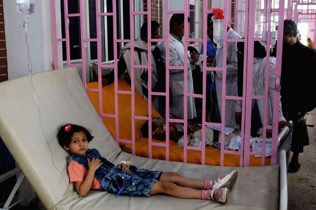 SANAA, Sept. 20, 2017 - A girl receives medical treatment at a separated cholera center in Sanaa, Yemen, on Sep. 19, 2017. The country has been hit by a deadly cholera outbreak and is on the edge of ...