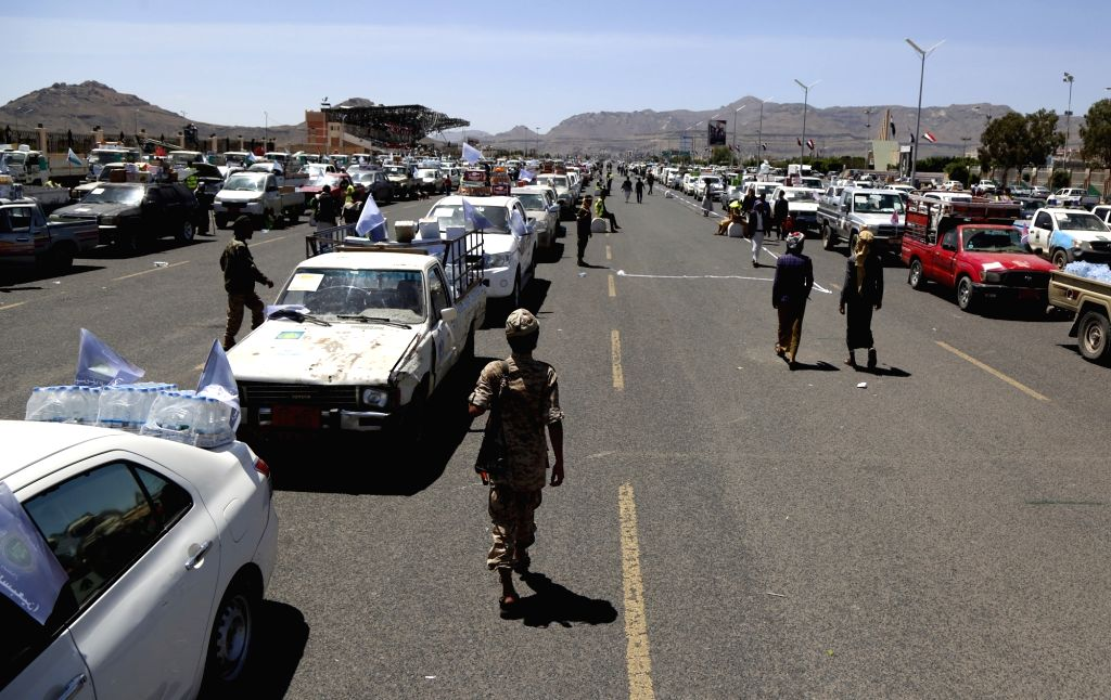SANAA, Sept. 22, 2019 - Vehicles loaded with supplies collected by the Houthis as battlefront reinforcements line up before leaving Sanaa, Yemen, Sept. 22, 2019. Pro-government Yemeni forces on ...