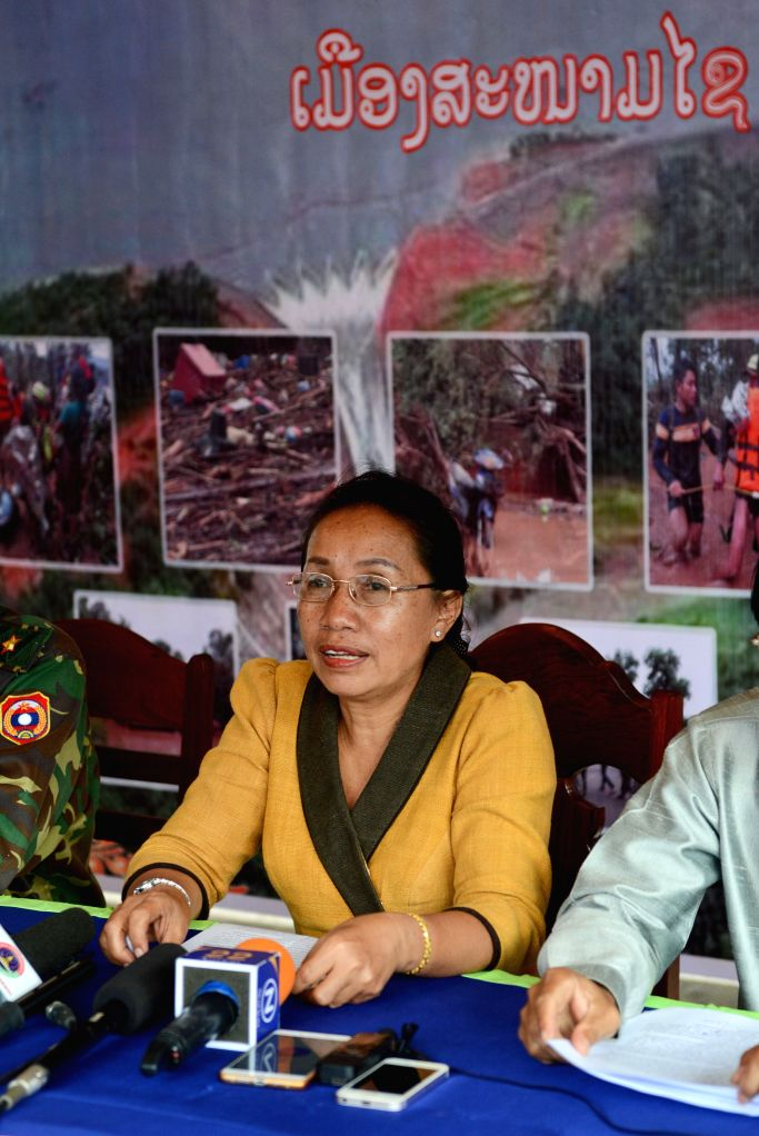 SANAMXAY, July 29, 2018 - Minaphone Saisomphu, deputy party committee secretary of Attapeu Province, deputy commander of the rescue operation, speaks at a press conference in Sanamxay, Laos, on July ...