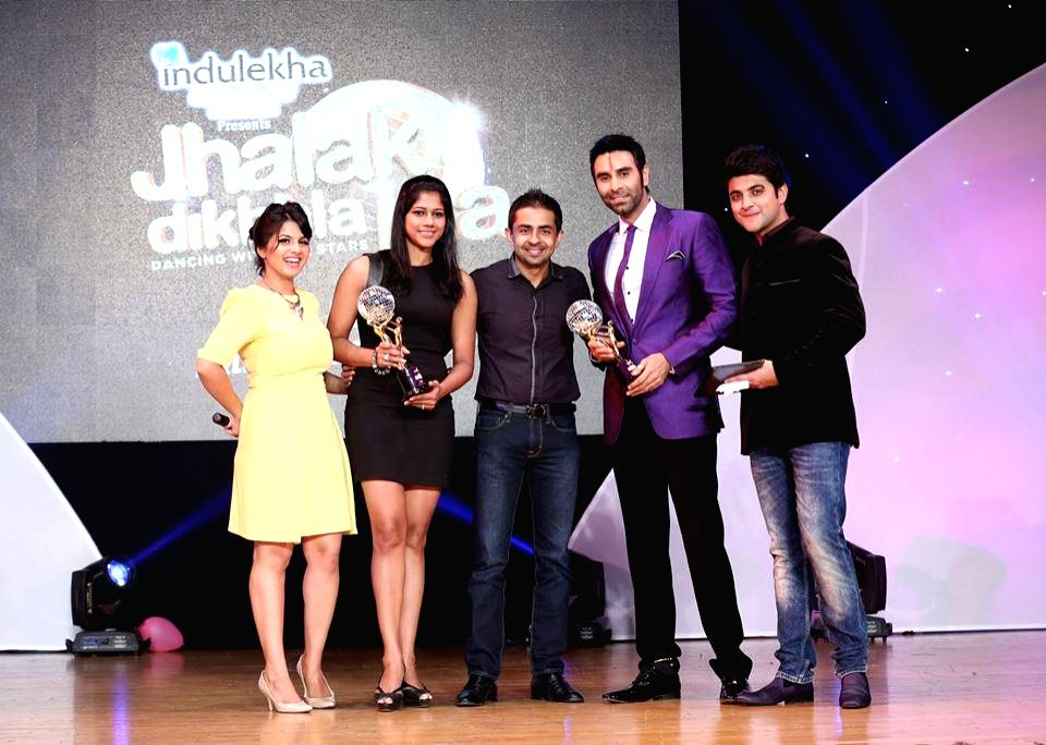 Sandip Soparrkar and others during `Jhalak Dikhhla Jaa UAE Season 3` grand finale at the Sheikh Rashid Auditorium, Indian High School in Dubai on June 24, 2014.