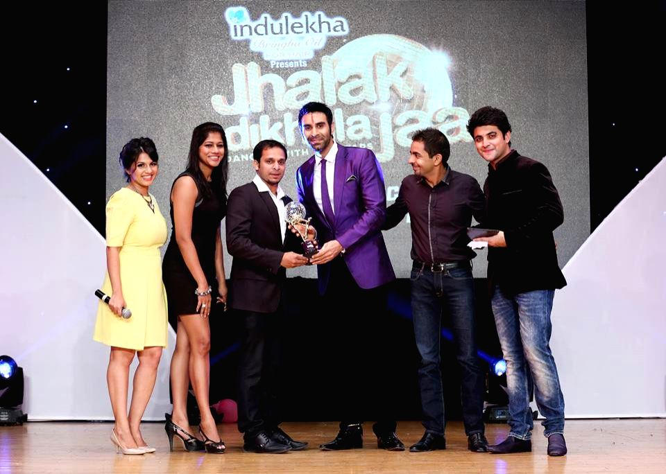 Sandip Soparrkar during `Jhalak Dikhhla Jaa UAE Season 3` grand finale at the Sheikh Rashid Auditorium, Indian High School in Dubai on June 24, 2014.