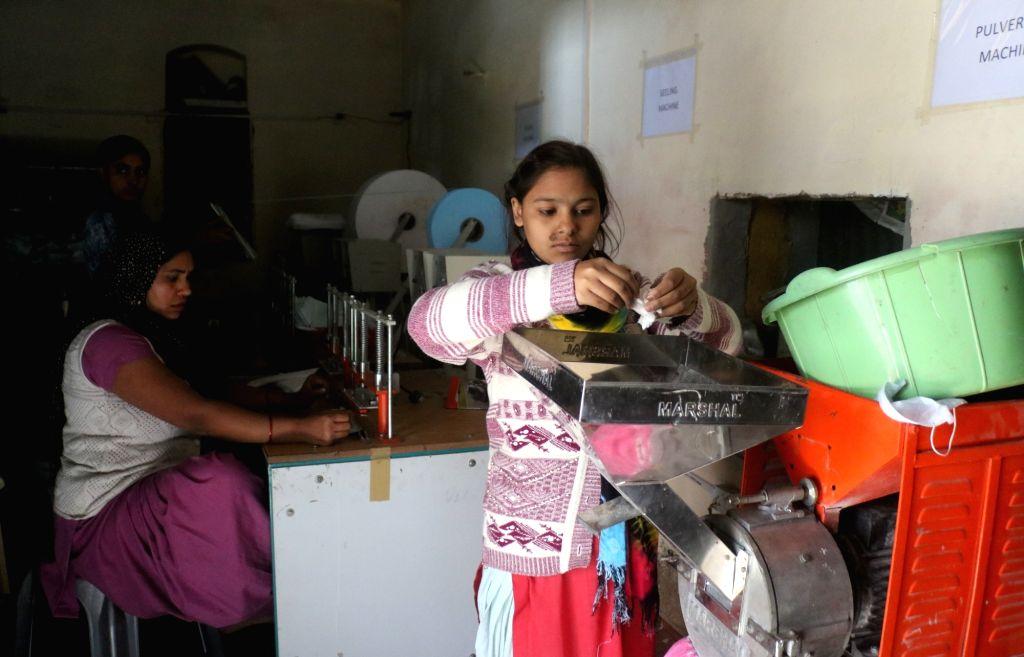 Sanitary pads manufactured at the pad-manufacturing factory in Kathikhera, Hapur, Uttar Pradesh.