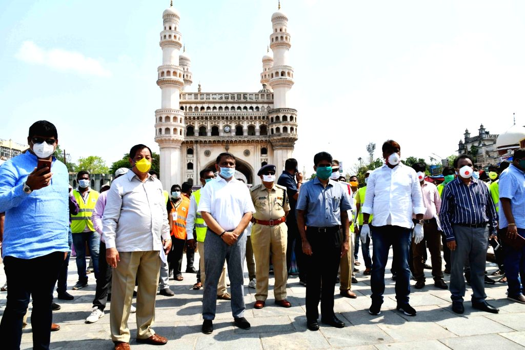 Sanitation workers maintaining social distance pledge to keep Hyderabad clean at the risk of their lives, appealing to the citizens to stay safe by satying at home till the lockdown period ...