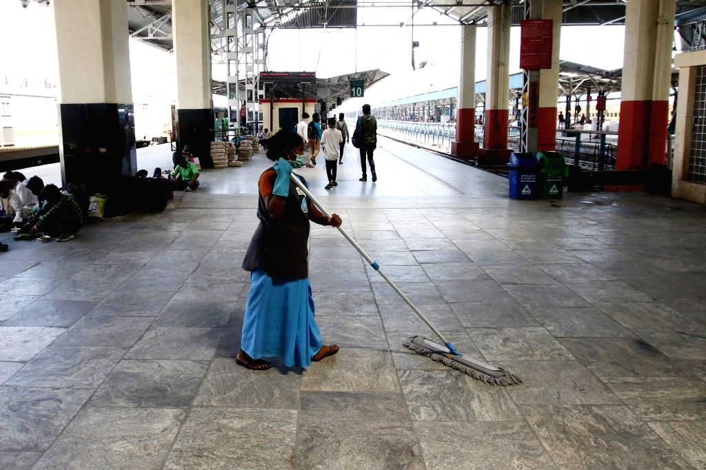 Sanitisation drive being conducted at the Chennai Central Railway Station as a measure to contain COVID-19 (coronavirus) on March 17, 2020.