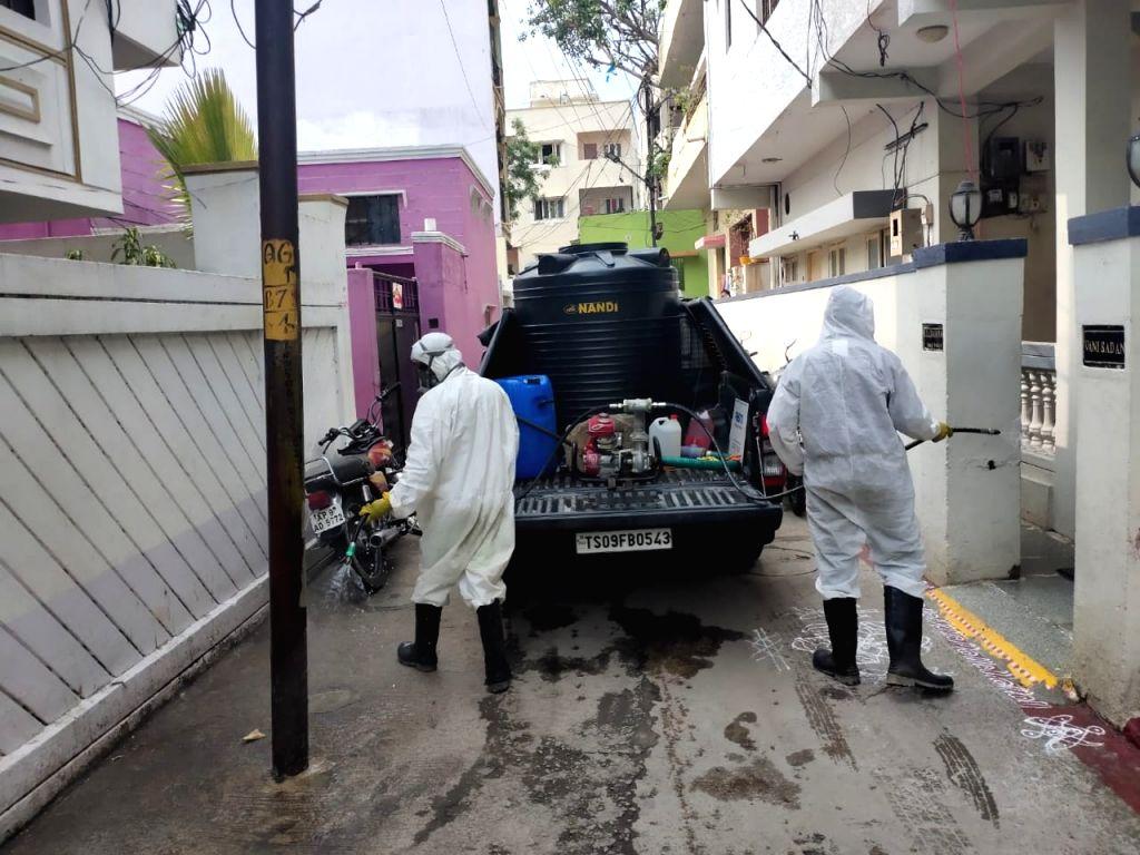 Sanitisation drive underway in greater Hyderabad region.