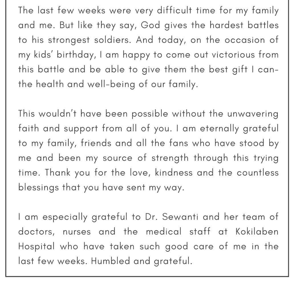Sanjay Dutt defeats cancer, issues statement with health update. - Sanjay Dutt