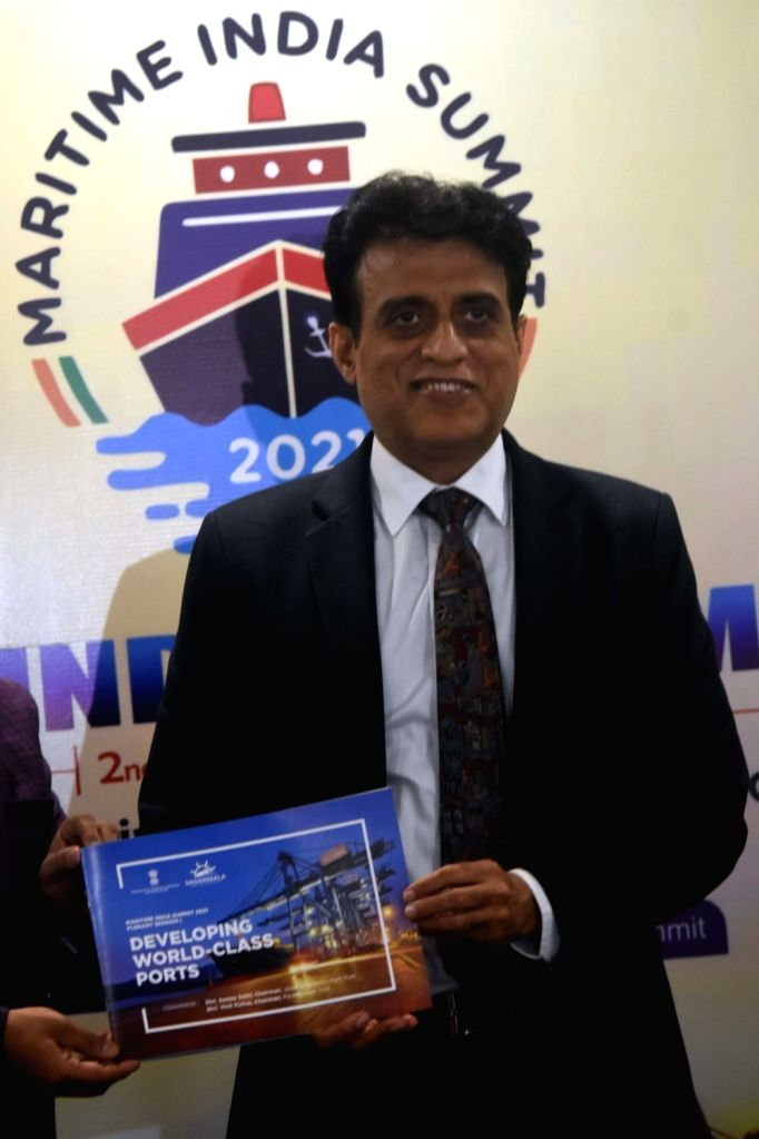 Sanjay Sethi, Chairman, JNPT during press conference in unveiling browser at JNPT Office, Nariman Point in Mumbai on Wednesday 24th February, 2021.