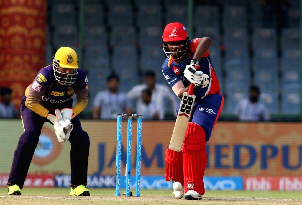 Sanju Samson of Delhi Daredevils plays a shot during an IPL 2017 match between Delhi Daredevils and Kolkata Knight Riders at Feroz Shah Kotla in New Delhi on April 17. 2017. - Feroz Shah Kotla