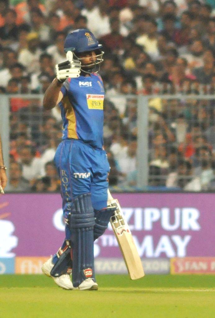 Sanju Samson of Rajasthan Royals celebrates his half century during the Eliminator match of IPL 2018 between Kolkata Knight Riders and Rajasthan Royals at the Eden Gardens in Kolkata on May ...