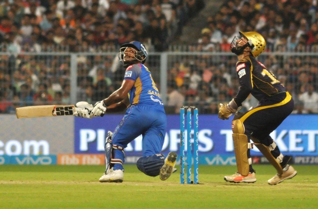 Sanju Samson of Rajasthan Royals in action during the Eliminator match of IPL 2018 between Kolkata Knight Riders and Rajasthan Royals at the Eden Gardens in Kolkata on May 23, 2018.