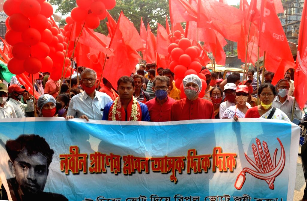 Sanjukta Morcha activists took part in a rally ahead of the 4th phase of the State Assembly election in Kolkata on April 8, 2021.
