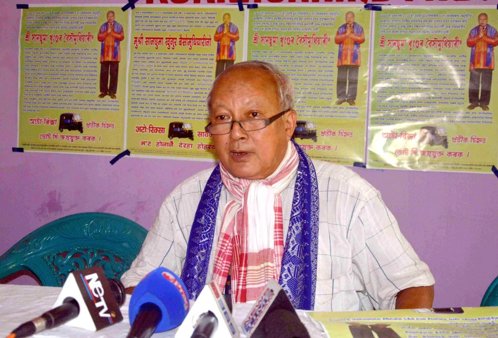 Sansuma Khunggur Bwiswmuthiary independent candidate from Kokrajhar during a press conference in Kokrajhar of Assam on April 21, 2014.