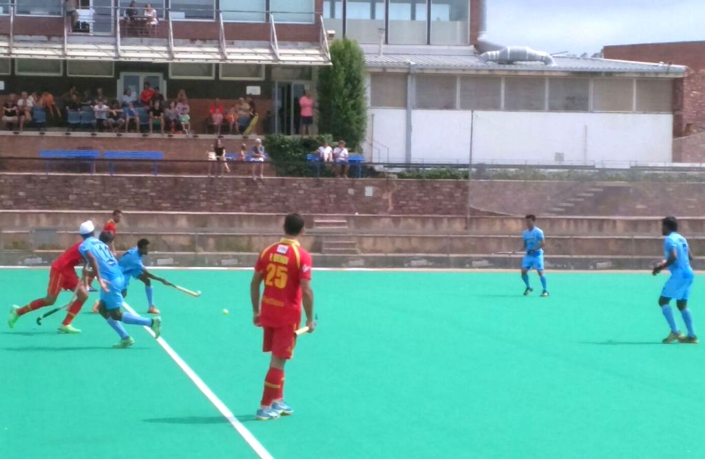 Sant Cugat del Valles (Spain): Players in action during a hockey match between India and Spain at Sant Cugat del Valles, Spain on Aug 12, 2015. India won.
